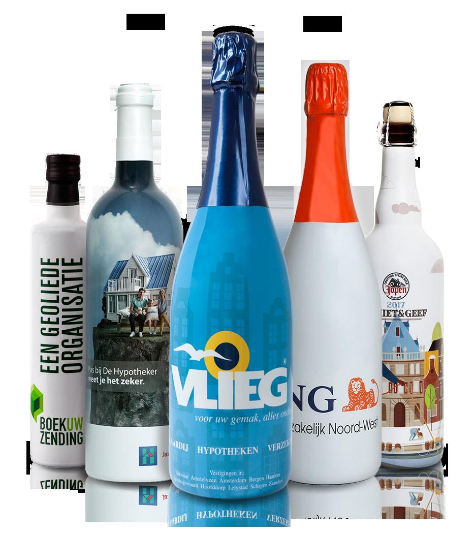 Flessen met logo bedrukt